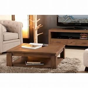 Table Basse Carrée 100x100 : table basse carr e bois acajou cannelle 90cm louna pier ~ Teatrodelosmanantiales.com Idées de Décoration