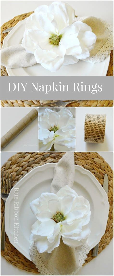 blue ribbon kitchen easy diy flower napkin rings