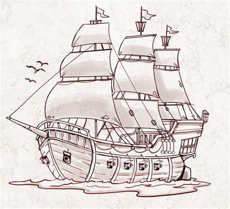 How To Draw A Pirate Boat by Simple Drawing Of A Ship Simple Pirate Ship Drawing