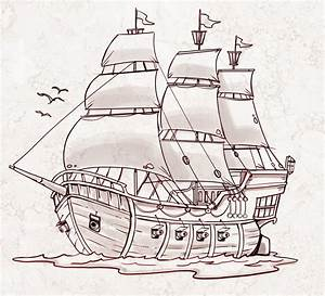 Simple Drawing Of A Ship Simple Pirate Ship Drawing ...