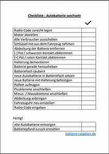 Autobatterie Wechseln Anleitung : checkliste autobatterie wechseln anleitung batterie ~ Watch28wear.com Haus und Dekorationen