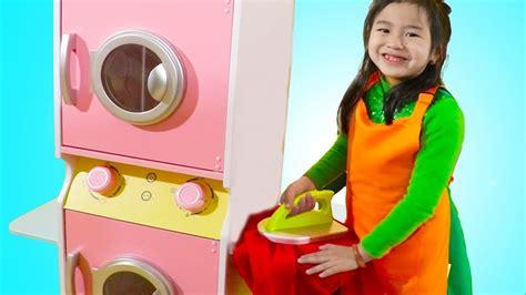 Jannie Pretend Play With Washing Machine Toy Youtube