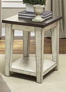 Liberty, Furniture, Lancaster, Rustic, End, Table, With, Light, Distressing
