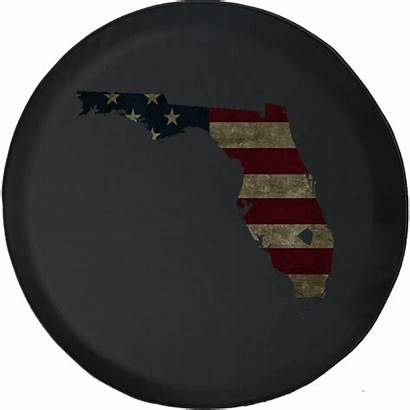 Tire Spare Flag American Distressed Florida Jeep