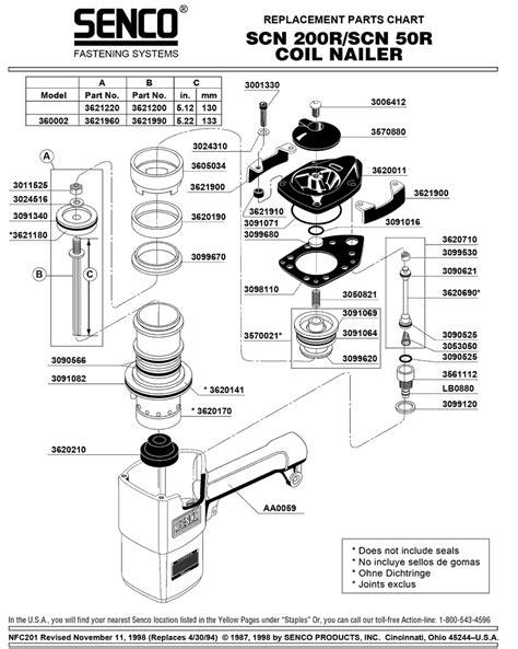 Senco SCN200R Parts - Nailer