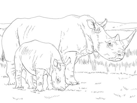 white rhino mother  baby coloring page supercoloringcom