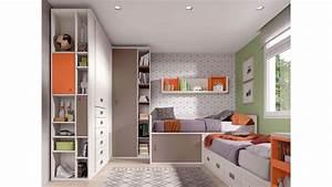 Bureau Enfant Avec Rangement : lits jumeaux d 39 angle avec rangements glicerio so nuit ~ Melissatoandfro.com Idées de Décoration