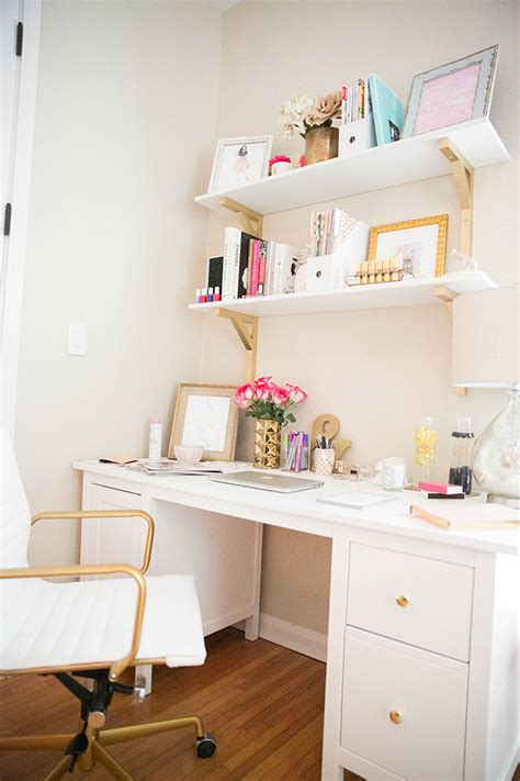 white and gold desk chair how to make a small office space work the fashionista 39 s