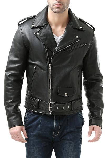 bgsd mens classic cowhide leather motorcycle jacket