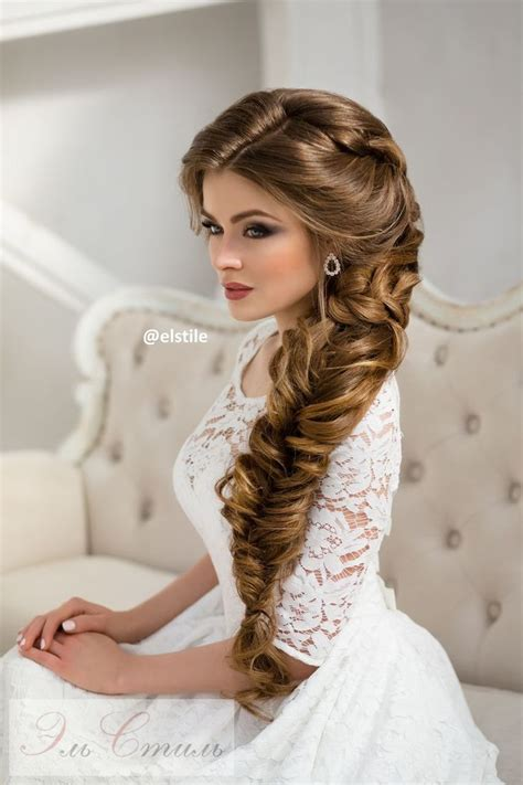 long braided wedding hairstyle  elstile wedding
