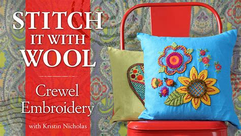 stitch   wool crewel embroidery  craftsy hand