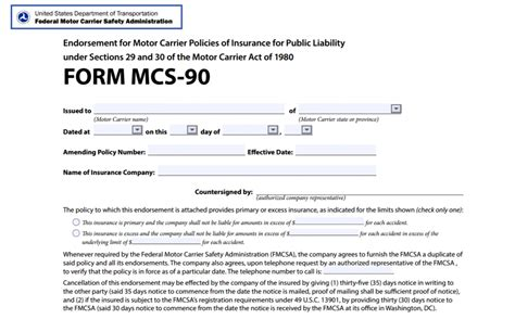 filing form mcs 90 endorsement for your trucking company