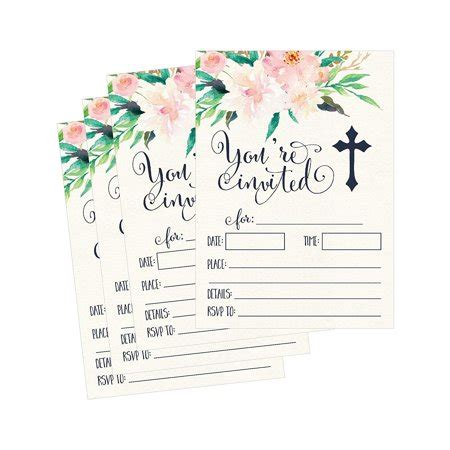 50 Floral Religious Invitations Confirmation Holy