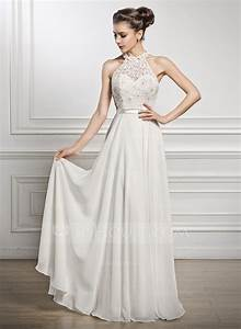 a line princess scoop neck floor length chiffon lace With wedding dresses floor length
