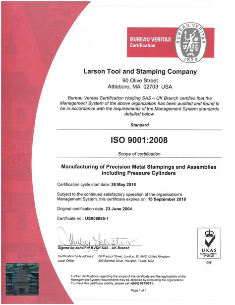 bureau veritas qatar certification iso 9001 2008 larson tool