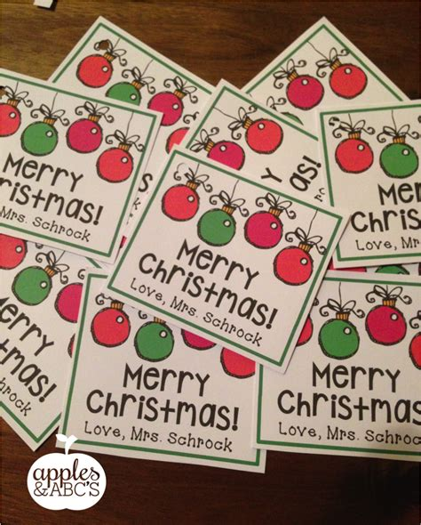 christmas gift for students gift tags apples and abc s