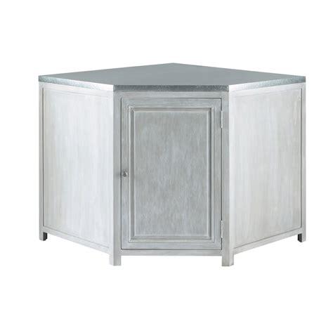 d馗or de cuisine meuble bas d 39 angle de cuisine en bois d 39 acacia gris l 99 cm zinc maisons du monde