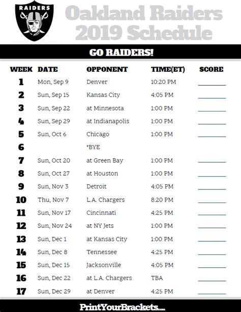 printable oakland raiders schedule  season