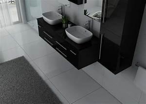 Meuble Double Vasque Noir : ensemble meuble salle de bain meuble salle de bain 2 vasques noir dis748n ~ Teatrodelosmanantiales.com Idées de Décoration