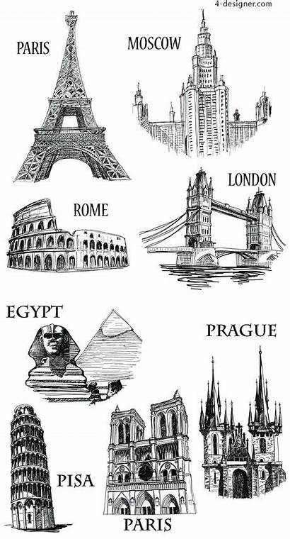 Tourist Sketch Attractions Famous Vector Material Tourism