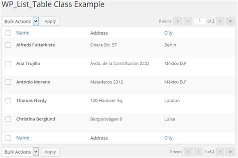 wplisttable  create wordpress admin tables