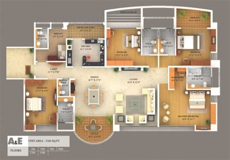 4 bedroom house floor plans 3d 50 3d floor plans lay out designs for 2 bedroom house or