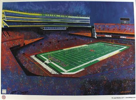 Florida Gators Football Stadium 24x33 Lithograph By Bill ...