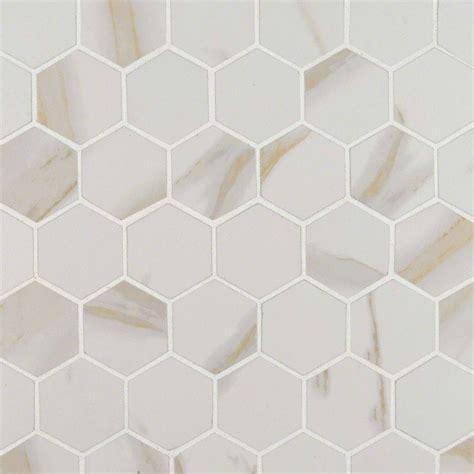2 hexagon tile calacatta 2 in x 2 in hexagon matte porcelain mosaic tile