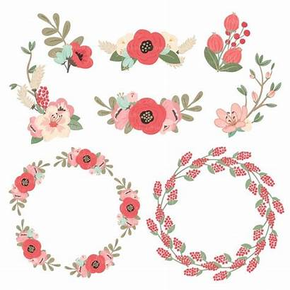 Coral Floral Clipart Mint Wreath Pretty Flower