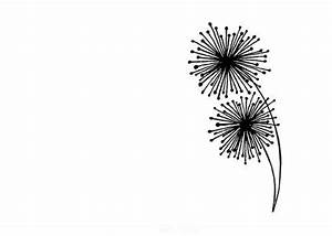 Simple Dandelion Line Drawing - Black and White Abstract ...