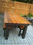 Make Outdoor Wood Table by Ana White Modified Rustic Table And Benches DIY Projects