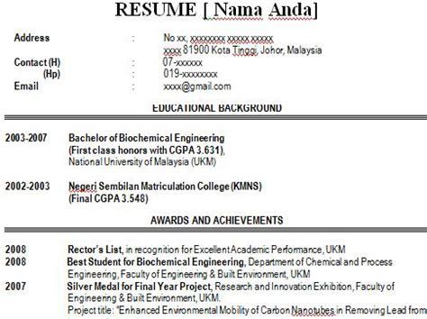 contoh resume dan cover letter untuk latihan industri