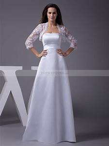 strapless a line satin wedding gown with lace bolero With white bolero for wedding dress