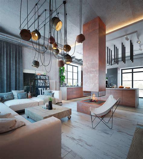 industrial home  warm hues
