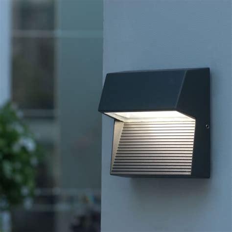 lutec radius square 9w exterior led low level wall light or step light in graphite fitting