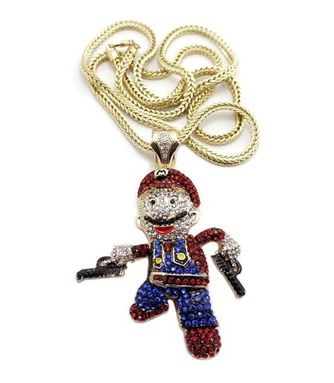 iced  super mario pendant mm franco chain hip