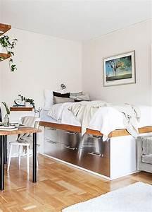 des rangements sous le lit dans le coin chambre de ce With beautiful meuble pour petit appartement 12 les meubles de cuisine