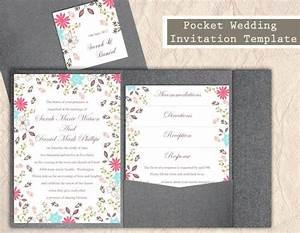 Pocket wedding invitation template set diy editable word for Diy wedding invitations with pockets