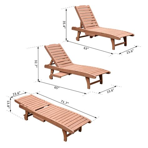 chaise m dicalis e outsunny wooden chaise lounge outdoor patio furniture
