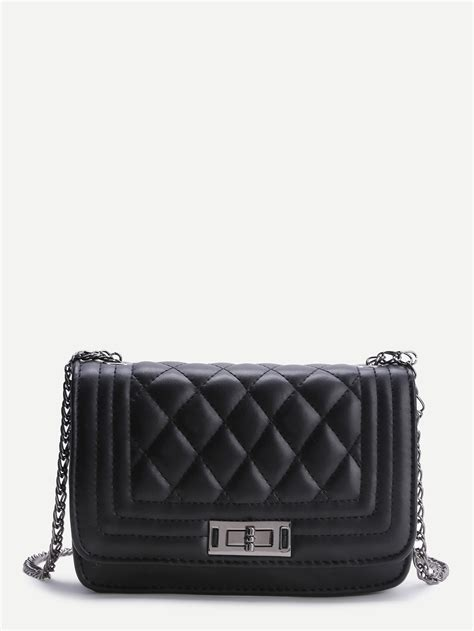 quilted crossbody bag black quilted crossbody bag with chain shein sheinside