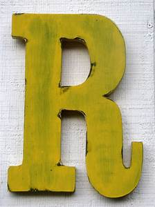 rustic wooden letterr distressed painted golden With rustic letter r