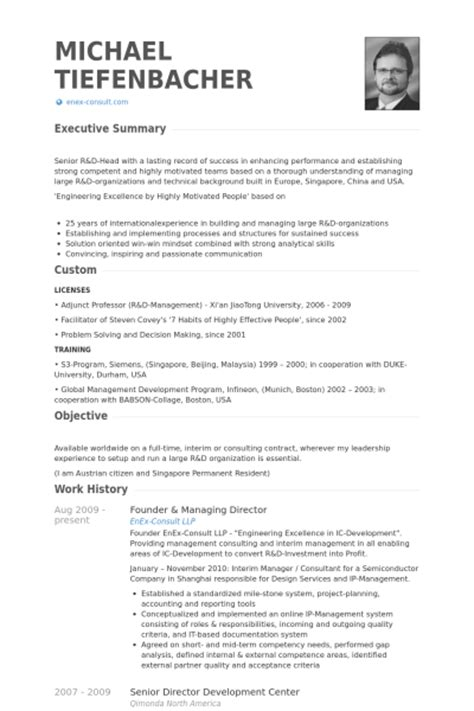 founder managing director resume sles visualcv