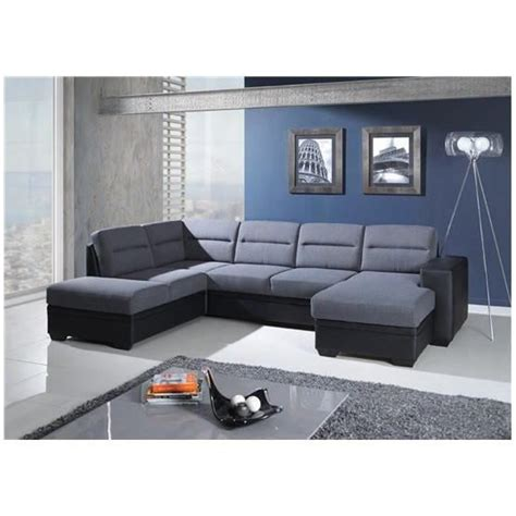 canap 233 d angle convertible en u neysid iii gris et noir angle gauche achat vente canape angle