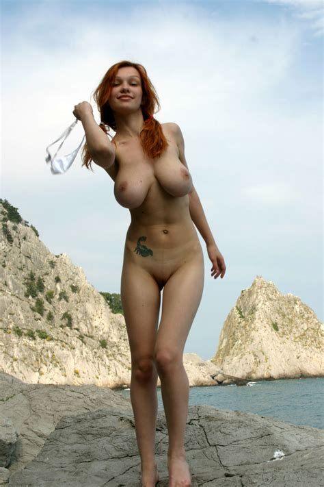 Smiling Redhead With Huge Boobs Undressing Russian Sexy Girls