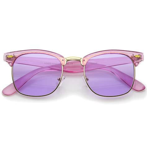 colorful sunglasses colorful transparent horn rimmed tinted lens half frame
