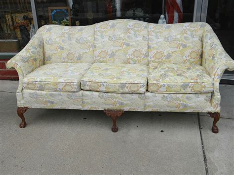 Foot Sofa by Beautiful Floral Vintage Camel Back Chippendale