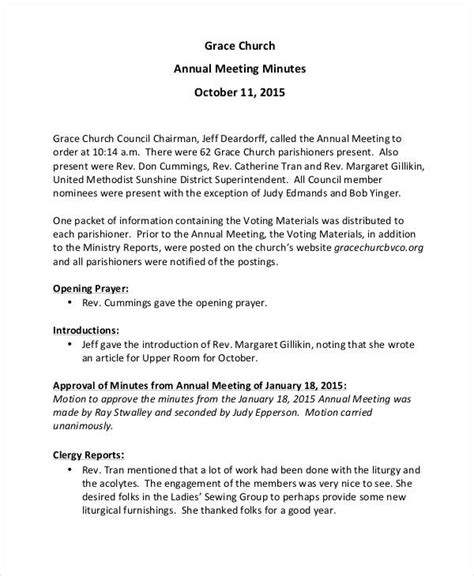 corporate annual meeting minutes sample 11 church meeting minutes templates free premium