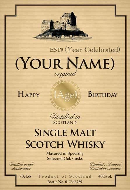 birthday whiskey bottle label bottle label template