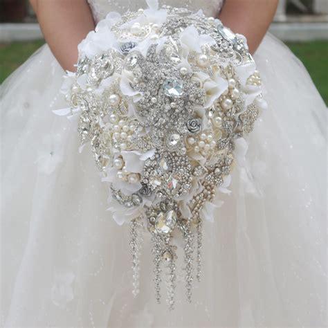 White Hydrangea Drop Brooch Bouquet Custom Wedding Bridal