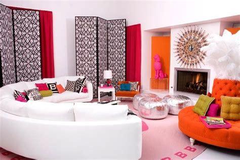 pink  orange living room design ideas pictures